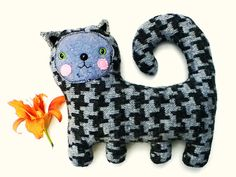 Houndstooth kitty cat plush // upcycled wool blend by sarahbrown, $42.00