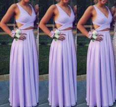 Beautiful Lavender Two Piece Chiffon Prom Dresses, Long Two Piece Party Dresses, Evening Dresses