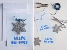 How-to: Add a snowflake ornament as party invitation surprise.