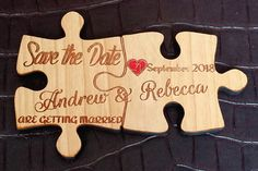 You complete each other! Announce your date with handmade wooden puzzle piece magnets.