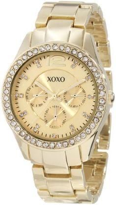XOXO Women's XO5475 Gold-Tone Bracelet With Rhinestones Accent Bezel Watch: Watches: Amazon.com  Danielle Gift