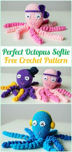 Crochet Amigurumi Octopus Baby Toy Free Pattern - Amigurumi Crochet Sea Creature Animal Toy Free Patterns