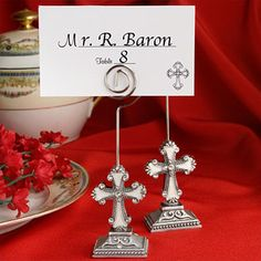 Cross Place Card Holder Favors