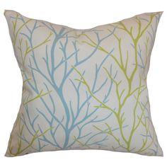 "Fderik Trees 24-inch Down Feather Throw Pillow Aqua Green (24"" x 24""), Blue, Size 24 x 24 (Cotton, Floral)"