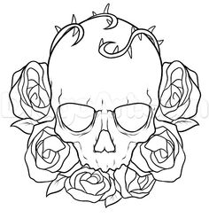 how to draw a skull and roses tattoo step 7 Tattoo Outline Drawing, Tattoo Drawings, Skull Coloring Pages, Rose Stencil, Skull Sketch, Dark Art Drawings, Sad Drawings, Totenkopf Tattoos, Online Drawing
