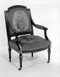 Armchair (Louis XVI Revival style)  Maker: Leon Alexandre Marcott  Medium: Ebonized blue beech, gilt bronze, original Aubusson tapestry upholstery (wool, linen warp)  Place Manufactured: New York, USA  Dates: 1869