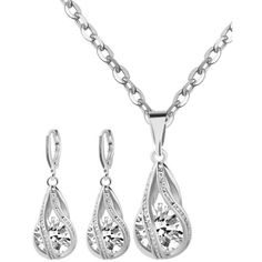 Rhinestone Water Drop Wedding Jewelry Set ($3.75) ❤ liked on Polyvore featuring jewelry, bridal jewellery, rhinestone jewelry, rhinestone wedding jewelry, bridal jewelry and rhinestone bridal jewelry