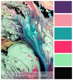 Marble Swirl a palette full of bright, summery hues! Charcoal grey, mint green, bright pink, intense aqua, ballet pink and lilac