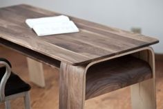Neat grayish wood color - Bent Plywood Furniture Design of The Horsey Desk by Plywood Office