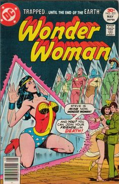 Wonder Woman #231 Funny how the men are all trapped standing straight up while Wonder Woman is, well you can see...