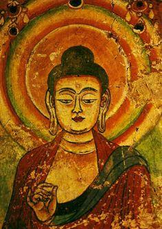 butterflieswhispertodeath:     Teaching Buddha from Bezeklik, Chinese Turkestan, T'ang period, ninth century  Source
