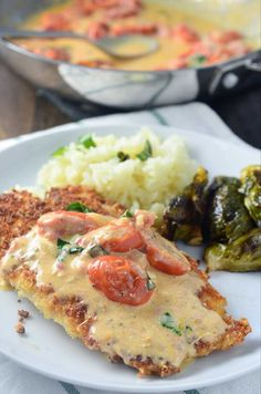 Parmesan Crusted Tilapia with Tomato-Basil Cream Sauce. I'll use something other than tilapia. Healthy Recipes, Fish Recipes, Seafood Recipes, Dinner Recipes, Cooking Recipes, Tilipa Recipes, Cooking Tips, Seafood Meals, Thai Cooking