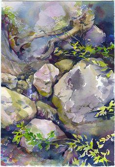 Rocks watercolor painting  rock painting stones by OlgaSternyk