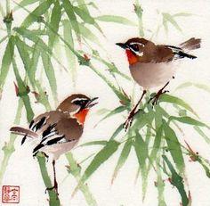 """My Bamboo Home"" - Original Fine Art for Sale - © Jinghua Gao Dalia"
