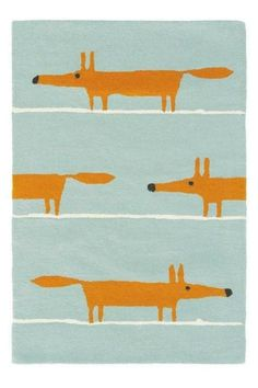 Mr Fox Aqua Large Rug - Scion Rugs - A friendly fox, creating a stripe effect design on the rug. Shown here in the Aqua colourway. Other colourways are available. Large Rugs, Small Rugs, Contemporary Rugs, Modern Rugs, Modern Carpet, Modern Wall, Modern Living, Scion Mr Fox, Scion Fabric