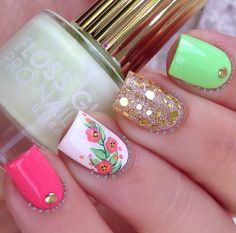 Spring Nails - 46 Best Spring Nails for 2018 - Hashtag Nail Art Cute Nail Art, Cute Nails, Pretty Nails, Fabulous Nails, Gorgeous Nails, Spring Nails, Summer Nails, Uñas Fashion, Floral Nail Art