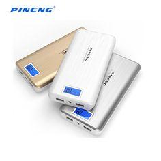 PINENG 20000mAh 2A LED Flashlight Dual USB Port Power Bank for Cellphone