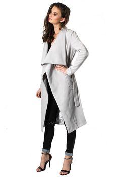 New York Minute Knee Grazer Coat - Grey