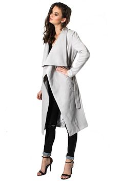 New York Minute Knee Grazer Coat - Grey