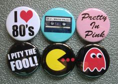 "1"" is the perfect size for '80s retro buttons.  Remember when denim jackets were loaded with these?  #retrobuttons #pacmanbuttons #'80sbuttons"