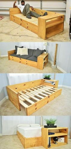 DIY Sofa Bed / Turn this sofa into a BED – rustic home diy Diy Sofa, Diy Storage Sofa, Diy Wood Projects, Home Projects, Upcycling Projects, Bed Plans, Wooden Pallets, Pallet Benches, Pallet Beds