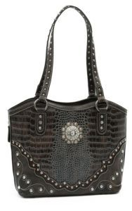 Blazin Roxx® Ladies Brown & Grey Gator Print with Crystal Concho Bucket Bag   Cavender's