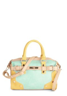 Vestige of the Pastel Bag by Melie Bianco - Mint, Yellow, Tan / Cream, Solid, Buckles, Studs, Colorblocking, Faux Leather, Pastel