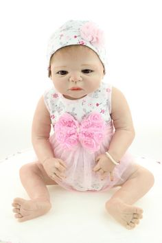 125.00$  Watch here - http://aliadj.worldwells.pw/go.php?t=32463143022 - 22 Inches 55 cm Lifelike real silicone soft full vinyl silicone reborn baby girls LKI908