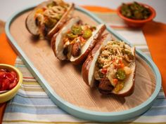 Get Third Down Conversion Dog Recipe from Food Network Hot Dog Recipes, Pork Recipes, Copycat Recipes, Pretzel Hot Dog Buns, Pork Hot Dogs, Kitchen Recipes, Cooking Recipes, Beer Cheese Sauce