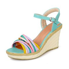MayMeenth Womens Assorted Color PU HighHeels Open Toe Buckle WedgesSandals Blue 36 * Read more  at the image link. (This is an Amazon affiliate link and I receive a commission for the sales and I receive a commission for the sales)