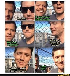 Destiel  This is so funny because I made this gifset on my tumblr :D http://frecklesandfeathers.tumblr.com/post/149797048024/dean-and-cas-facetime-sam