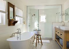 Harmony Green House Design in White: Bright Contemporary Bathroom Covered Shower Concord Green Home Coastal Bathrooms, Beach Bathrooms, Dream Bathrooms, Beautiful Bathrooms, Vintage Bathrooms, Small Bathrooms, Bad Inspiration, Bathroom Inspiration, Design Your Home
