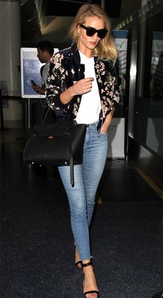 Rosie Huntington-Whiteley Style | 17 Celebrities with Killer Street Style | Fall outfit idea - high waisted denim + floral bomber jacket