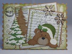 """CC """"Peeking Santa Bear"""" (Site: none / photo only) Holiday Cards, Christmas Cards, Diy And Crafts, Paper Crafts, Marianne Design, Punch Art, I Card, Cardmaking, Panda"""