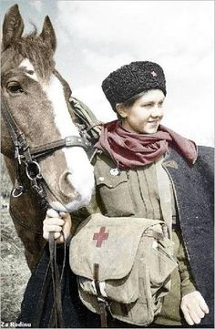 Female medic with her horse !