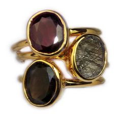 Margaret Elizabeth Jewelry / Ring / Garnet, Rutilated Quartz, Smokey Quartz / 24k gold vermeil