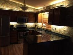 Amazon.com - Kitchen Under Cabinet Professional Lighting Kit 16' ft COOL WHITE LED Strip Tape Light w/ RF Wireless Dimmer -