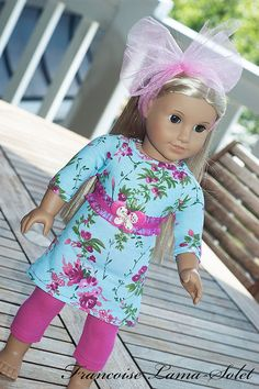 18 doll clothes for girl blue aqua pink knit by francoiselamasolet