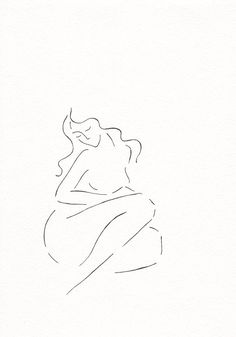 Simple line drawing. Minimalist sketch of a nude woman sitting. Few lines figure art. Black and white ink illustration.