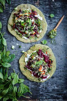 Green Garlic Spinach Flatbread – Cook Republic – Vegan - My Shop Vegetarian Recipes, Cooking Recipes, Healthy Recipes, Healthy Pizza, Vegan Vegetarian, Garlic Spinach, Garlic Recipes, Roasted Sweet Potatoes, Kitchen