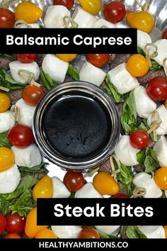 Looking for a game day appetizer? Made with mozzarella, beef tips, basil, and tomatoes these Keto Balsamic Caprese Steak Bites make for the perfect snack or appetizer! Game Day Appetizers, Low Carb Appetizers, Best Appetizer Recipes, Best Appetizers, Veggie Skewers, Balsamic Reduction, Beef Tips, Steak Bites, Homemade Salsa