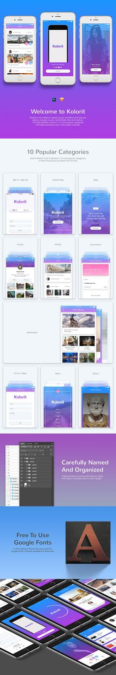 Kolorit Mobile UI Kit by Web Donut on @creativemarket #mobile #ui #ux #mobileapp #uikit #mobileuikit #iphone #android #photoshop #sketch #webelements #blog #profile #ecommerce #promo #userflow #appdesign #mobileappdesign #app #colors #colorful #gradient