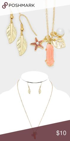 "Starfish & Leaf Charm Necklace/Earring Set • Style No : 298763 • Color : Coral, Gold • Theme : Starfish  • Necklace Size : 20"" + 3"" L • Pendant Size : 0.5"" X 1"" • Earrings Size : 1.25"" L • Starfish & leaf charm necklace Jewelry Necklaces"