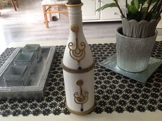 My latest decorated bottle. For sale: €35,- reply to this pin for further info...