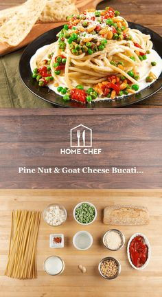 Pine Nut & Goat Cheese Bucatini Alfredo with garlic bread