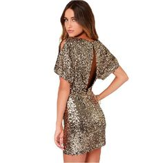 ==> [Free Shipping] Buy Best Vestidos summer women dress casual Sequin dress open back short sleeve plus size gold dress sexy bodycon dress party night club Online with LOWEST Price | 32561498852