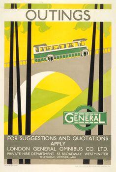 LONDON General Bus - Outings, Bip Pares,1928.