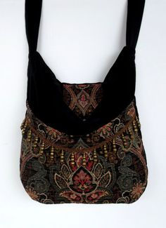 Black and Green Tapestry Gypsy Bag Messenger Bag...and lots of other darkish bags with embellishments....