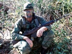 Member of a USMC recon battalion armed with an M14 ~ Vietnam War
