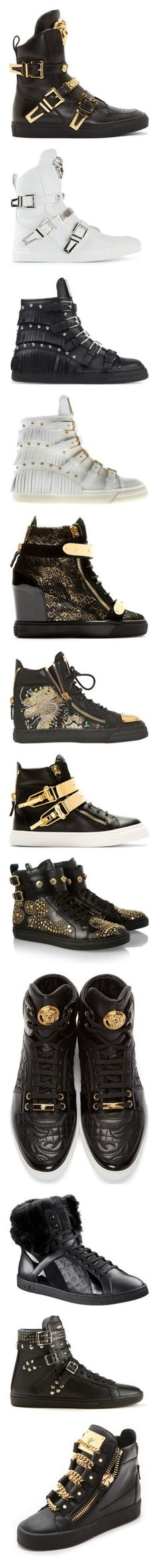 """Ultimate 'Designer Sneaker' Collection Pt. II"" by dazzlingdondiva ❤ liked on Polyvore featuring shoes, sneakers, men, versace, black leather shoes, versace sneakers, leather hi top sneakers, black hi tops, leather high top sneakers and white leather sneakers"